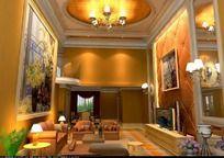 3D欧式风格客厅模型和3D客厅效果图
