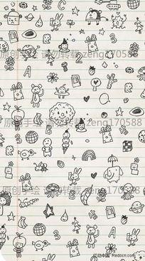 小动物手绘稿插画