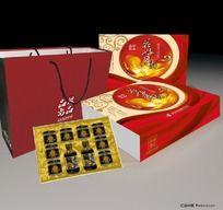 高档中秋礼盒金红色