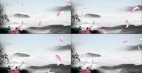 中国风花瓣飘落动态视频水墨风格视频