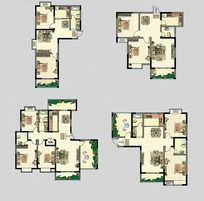 房地产户型图 平面配置图