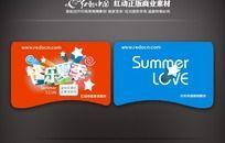 快乐夏季吊旗矢量图设计