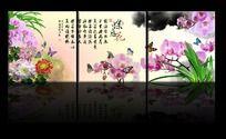 水墨兰花蝴蝶图