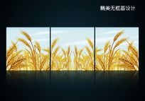 金黄色小麦室内无框画设计psd