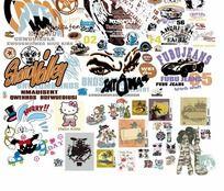卡通图案服装印花矢量图