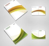 清新绿色画册封面 橙色线条画册封面设计 PSD源文件