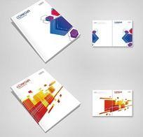 蓝色六边形 红色方格 画册封面设计 PSD源文件