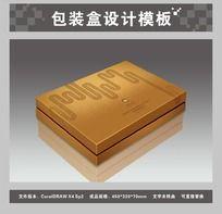 金色礼品包装盒平面图与效果图