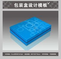 蓝色礼品包装盒平面图与效果图
