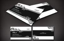黑白色欧式藤蔓图案时尚名片