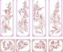 喜鹊梅花中国风插画矢量模板