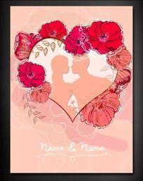 手绘花朵心形婚礼展板