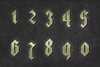 哥特金色金属数字