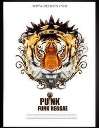 虎頭圖案音樂海報