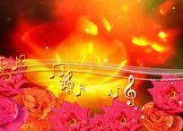 鲜花盛开音符飘动视频素材