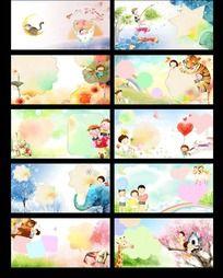 可爱卡通儿童成长画册psd