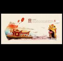 中国风元宵节花灯背景设计