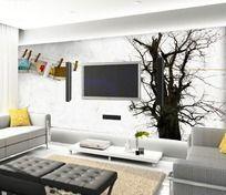 冬天大树客厅电视背景墙