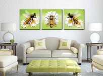 简约蜜蜂三联无框画挂画