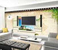 绿色春天客厅电视背景墙