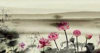 中国风水墨荷花led视频素材