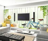 绿色清新客厅电视背景墙墙纸