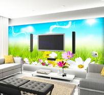 春季田园风光电视背景墙
