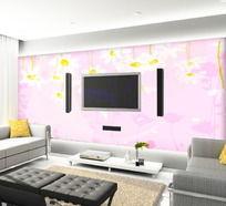 花花粉色电视背景墙