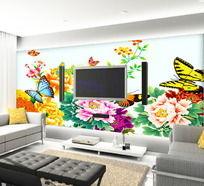 花团锦簇电视背景墙