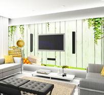 绿色春天电视背景墙