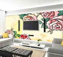 牡丹花卉电视背景墙
