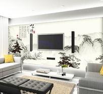 中国水墨山水画电视背景墙