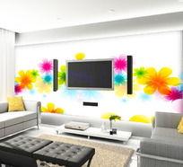 炫彩花卉客厅电视背景墙