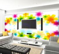 彩色花朵客厅电视背景墙