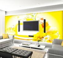春天金色花卉客厅电视背景墙