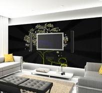 黑色情怀客厅电视背景墙