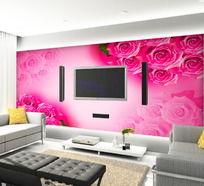浪漫玫瑰客厅电视背景墙