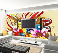 写意花朵客厅电视背景墙