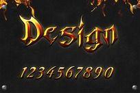 0-9数字火焰效果字体