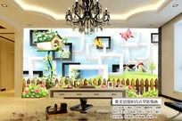 3D立体卡通纯色清新儿童房背景墙
