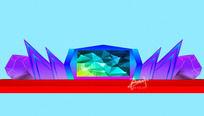 宝石开业庆典舞台舞美设计3d模型效果图