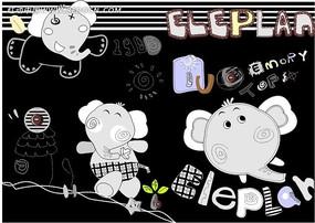 大象印花图案模板下载