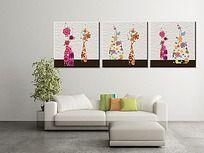 三联植物花卉云纹无框画PSD图片