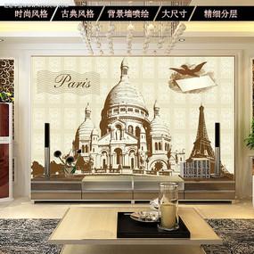 复古欧美风客厅电视背景墙图片