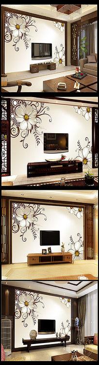 花朵电视背景墙装饰画模板下载