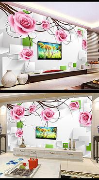 3D方块玫瑰花藤背景墙