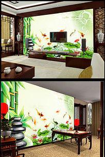 绿色竹子荷花金鱼背景墙