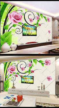 3D软包背景墙玫瑰花朵装饰画