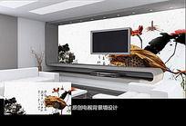 水墨莲藕电视背景墙