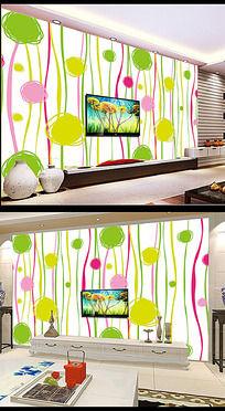 韩国手绘粉色背景墙